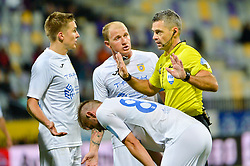 Players of NK Domzale and referee Damir Skomina during football match between NK Maribor and NK Domzale in 9th Round of Prva liga Telekom Slovenije 2018/19, on August 05, 2018 in Ljudski vrt, Maribor, Slovenia. Photo by Mario Horvat / Sportida