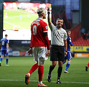 Charlton Athletic striker, Simon Makienok (9) getting yellow card during the Sky Bet Championship match between Charlton Athletic and Cardiff City at The Valley, London, England on 13 February 2016. Photo by Matthew Redman.