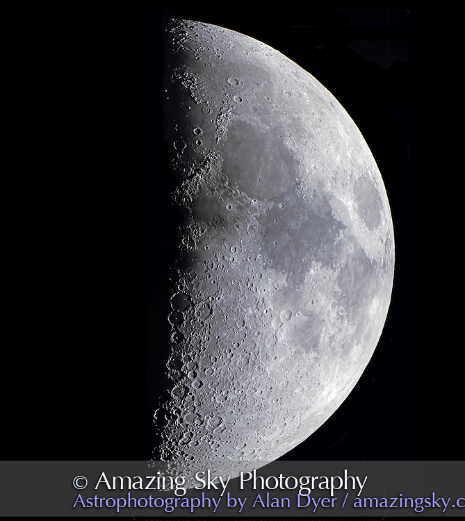 Quarter Moon, April 1993<br /> <br /> Taken from Las Campanas Observatory, Chile. Using 24-inch f/16 Helen Sawyer Hogg Telescope (formerly owned by University of Toronto) at Cassegrain focus, with focal reducer for effective f/11. <br /> <br /> This image is a mosaic of four 35mm images, taken scanning down the disk of the Moon and stitched together in Photoshop. Each 35mm slide scanned at 4000 dpi and full resolution retained for this mosaic. Black sky added to expand area around the Moon for more &quot;breathing&quot; room and for page layout.<br /> <br /> Some horizontal seams barely visble -- where images overlap there is less grain and a a smoother background than where image is made of one frame. <br /> <br /> Film: Ektachrome 100 slide film, exposure not recorded. Seeing superb as always at Las Campanas.<br /> <br /> Smart Sharpen, Reduce Noise and Shadows/Highlights with Mid-Tone Contrast boost applied to flattened version.