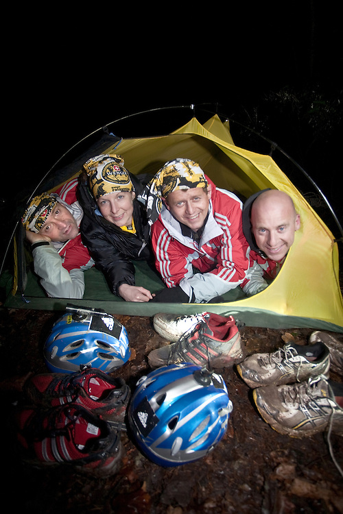 Left to Right - Richard Maddon, Fi Spotswood, Mike Bushall, Nick Gracie resting in a tent during Training with AdidasTERREX on the Wenger Patagonia Expedition Race media day. 11/01/2011.Copyrighted work - Permission must be sought before use of this image..Alex Ekins +44 (0)7901 882994.