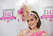 Miss America 2016 Betty Cantrell poses on the pink carpet on Longines Kentucky Oaks Day, Friday, May 6, 2016, in Louisville, Ky.  Longines, the Swiss watch manufacturer known for its luxury timepieces, is the Official Watch and Timekeeper of the 142nd annual Kentucky Derby. (Photo by Diane Bondareff for Longines/AP Images)