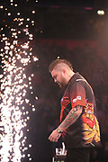 Michael Smith, 2013 World Youth Champion. Second Premier League season wins his match against Peter Wright, 2017 UK Open champion & Premier League finalist during the Unibet Premier League Darts Night 13 competition at the Manchester Arena, Manchester, United Kingdom on 26 April 2018. Picture by Mark Pollitt.