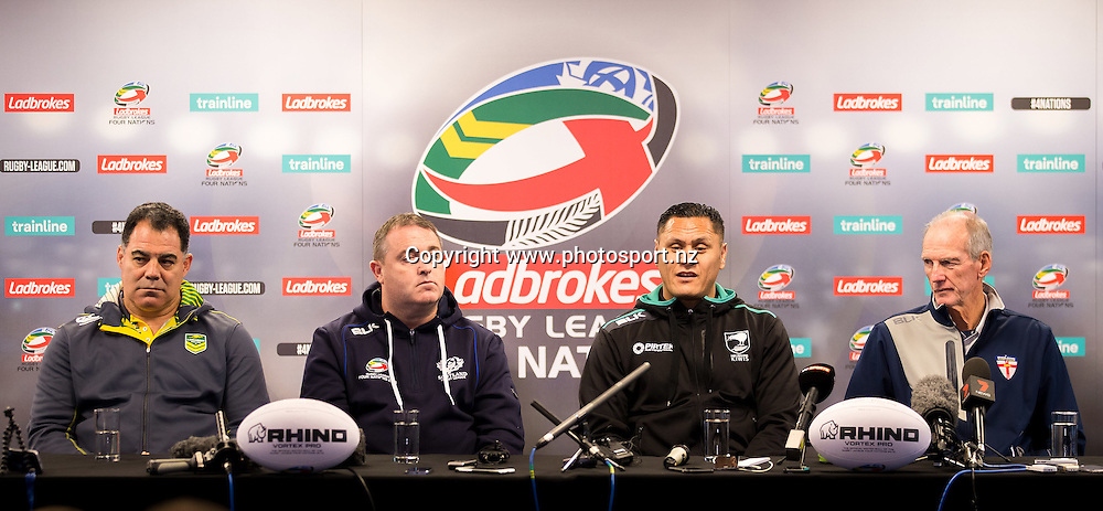 Rugby League - 2016 Ladbrokes Four Nations Launch - Anfield, Liverpool, England - (from left) Australia head coach Mal Meninga, Scotland head coach Steve McCormack, New Zealand head coach David Kidwell and England head coach Wayne Bennett during a press conference for the competition launch at Anfield., 24 October 2016, Picture by Alex Whitehead/SWpix / www.photosport.nz
