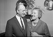 Toddie O'Sullivan announces that he will retire from the management of the Gresham Hotel at the end of the financial year. Picture shows Mr. O'Sullivan and his wife.<br /> 07.03.1968