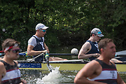 """Henley on Thames, United Kingdom, 4th July 2018, Wednesday, View, Heat of the """"Temple Challenge Cup. left ,"""" Temple, University, USA.,  and Yale University, USA"""",  first day of the annual,  """"Henley Royal Regatta"""", Henley Reach, River Thames, Thames Valley, England, © Peter SPURRIER,  first day of the annual,  """"Henley Royal Regatta"""", Henley Reach, River Thames, Thames Valley, England, © Peter SPURRIER,"""