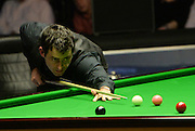20.02.2016. Cardiff Arena, Cardiff, Wales. Bet Victor Welsh Open Snooker. Ronnie O'Sullivan versus Joe Perry. Ronnie O'Sullivan at the table.