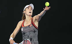MELBOURNE, Jan. 17, 2019  Alize Cornet of France serves the ball during the women's singles second round match against Venus Williams of the United States at the Australian Open in Melbourne, Australia, Jan. 17, 2019. (Credit Image: © Bai Xuefei/Xinhua via ZUMA Wire)