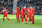 Edinson Roberto Paulo Cavani Gomez (psg) (El Matador) (El Botija) (Florestan) scored a goal from the ball of Goncalo Guedes (PSG), celebrated with Adrien Rabiot (psg), Thomas Meunier (PSG), Thiago Silva (PSG), Marcos Aoas Correa dit Marquinhos (PSG), Marco Verratti (psg), Blaise Mathuidi (psg) during the French championship Ligue 1 football match between Paris Saint-Germain (PSG) and Bastia on May 6, 2017 at Parc des Princes Stadium in Paris, France - Photo Stephane Allaman / ProSportsImages / DPPI