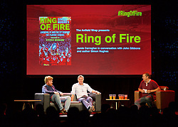 LIVERPOOL, ENGLAND - Friday, September 9, 2016: The Anfield Wrap's John Gibbons interviews former Liverpool player Jamie Carragher and author Simon Hughes on stage during the launch of Ring of Fire - Liverpool FC into the 21st century the players' story at Mountford Hall. (Pic by David Rawcliffe/Propaganda)