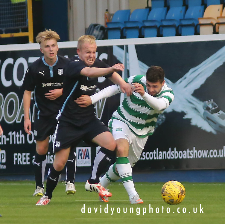 Nicky Low outmuscles Nadir Ciftci - Celtic v Dundee - Development League at Cappielow<br /> <br />  - &copy; David Young - www.davidyoungphoto.co.uk - email: davidyoungphoto@gmail.com