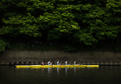 © Licensed to London News Pictures.13/06/15<br /> Durham, England<br /> <br /> The crew of a boat wait for their turn to race during the 182nd Durham Regatta rowing event held on the River Wear. The origins of the regatta date back  to commemorations marking victory at the Battle of Waterloo in 1815. This is the second oldest event of this type in the country and attracts over 2000 competitors from across the country.<br /> <br /> Photo credit : Ian Forsyth/LNP