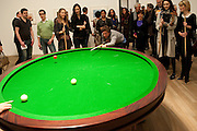 INDIA WATERS; KATE TOMLINSON; CRISPIN SOMERVILLE; LILY COLE; ILLY FRAITURE PLAYING Gabriel Orozco's 'Carambole with a Pendulum?  (an oval-shaped billiard table with no pockets ), Gabriel Orozco reception, Tate Modern, London. 18 January 2010. .-DO NOT ARCHIVE-© Copyright Photograph by Dafydd Jones. 248 Clapham Rd. London SW9 0PZ. Tel 0207 820 0771. www.dafjones.com.
