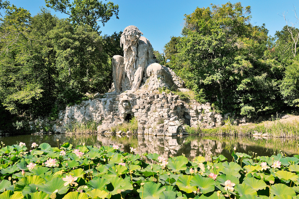 Huge 16 C. statue known as the Apennine Colossus by Giambologna in garden of the Villa Demidoff di Pratolino, Tuscany, Italy.
