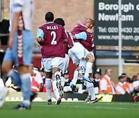 Photo: Chris Ratcliffe.<br /> West Ham United v Aston Villa. The Barclays Premiership. 10/09/2006.<br /> Bobby Zamora of West Ham celebrates scores the first West Ham goal.