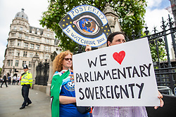 © Licensed to London News Pictures. 20/06/2018. London, UK. Anti-Brexit protesters demonstrate outside Parliament as MPs prepare to debate the EU Withdrawal Bill. Photo credit: Rob Pinney/LNP