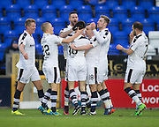 Dundee&rsquo;s Marcus Haber is congraulated after scoring - Inverness Caledonian Thistle v Dundee in the Ladbrokes Scottish Premiership at Caledonian Stadium, Inverness.Photo: David Young<br /> <br />  - &copy; David Young - www.davidyoungphoto.co.uk - email: davidyoungphoto@gmail.com
