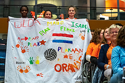 28-05-2019 NED: Volleyball Nations League Netherlands - Brazil, Apeldoorn<br /> <br /> Support Dutch Holland Orange flag banner