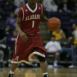 Jan 09, 2010; Baton Rouge, LA, USA; Alabama Crimson Tide guard Anthony Brock (1) controls the ball against the LSU Tigers during the second half at the Pete Maravich Assembly Center. Alabama defeated LSU 66-49.  Mandatory Credit: Derick E. Hingle-US PRESSWIRE