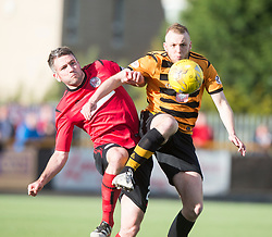 Brechin City's Paul McLean and Alloa Athletic's Greg Spence. Athletic 4 v 3 Brechin City (Brechin won 5-4 on penalties), Ladbrokes Championship Play-Off 2nd Leg at Alloa Athletic's home ground, Recreation Park, Alloa.