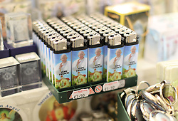 Pope Francis cigarette lighters on sale in Knock, Co Mayo, where Pope Francis will visit later this month.