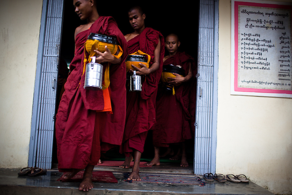 At dawn each morning, monks in all monasteries head out into the city to receive alms. They tend to visit the same locations each day, and are dependent upon the villagers offerings of food for their sustenance.