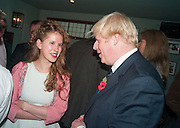 FREYA WOOD; BORIS JOHNSON, Party to celebrate the publication of 'Winter Games' by Rachel Johnson. the Draft House, Tower Bridge. London. 1 November 2012.