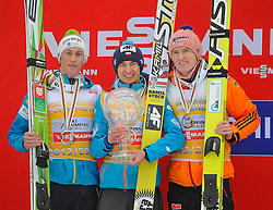 23.03.2014, Planica, Ratece, SLO, FIS Weltcup Ski Sprung, Planica,Siegerehrung, Skisprung, Gesamtwertung, im Bild 2. Platz Peter Prevc, 1. Platz Kamil Stoch, 3. Platz Severin Freund / on podium of overall mens FIS Ski jumping Worldcup Cup at Planica in Ratece, Slovenia on 2014/03/23. EXPA Pictures © 2014, PhotoCredit: EXPA/ Newspix/ Irek Dorozanski<br /> <br /> *****ATTENTION - for AUT, SLO, CRO, SRB, BIH, MAZ, TUR, SUI, SWE only*****