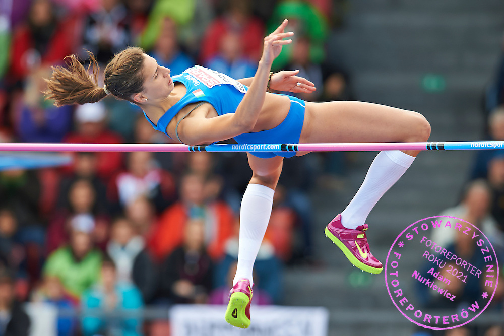 Alessia Trost from Italy competes in women's high jump qualification during the Fourth Day of the European Athletics Championships Zurich 2014 at Letzigrund Stadium in Zurich, Switzerland.<br /> <br /> Switzerland, Zurich, August 15, 2014<br /> <br /> Picture also available in RAW (NEF) or TIFF format on special request.<br /> <br /> For editorial use only. Any commercial or promotional use requires permission.<br /> <br /> Photo by &copy; Adam Nurkiewicz / Mediasport