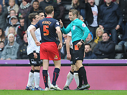 Referee Craig Pawson explains Red Card for Derby Stephen Warnock, Derby County v Reading, FA Cup 5th Round, The Ipro Stadium, Saturday 14th Febuary 2015