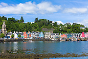 Multi-coloured buildings on the waterfront of Sound of Mull at Tobermory the capital city of the Isle of Mull in the Inner Hebrides of Scotland