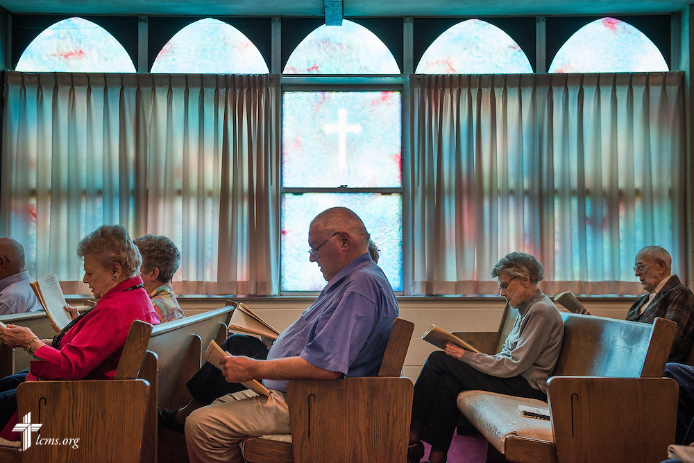 Congregants listen during a Lenten service at Lutheran Good Shepherd Home in Concordia, Mo., on Thursday, April 10, 2014. LCMS Communications/Erik M. Lunsford