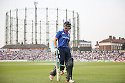 England Wicketkeeper Jos Buttler walks to the pavilion and is out for 41 during the Royal London One Day International match between England and New Zealand at the Oval, London, United Kingdom on 12 June 2015. Photo by Phil Duncan.