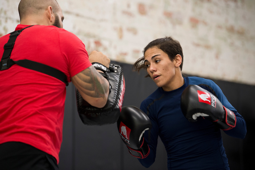 DALLAS, TX - MAY 11:  Jessica Andrade holds an open workout for the fans and media at Mohler MMA - Brazilian Jiu-Jitsu & Boxing on May 11, 2017 in Dallas, Texas. (Photo by Cooper Neill/Zuffa LLC/Zuffa LLC via Getty Images) *** Local Caption *** Jessica Andrade