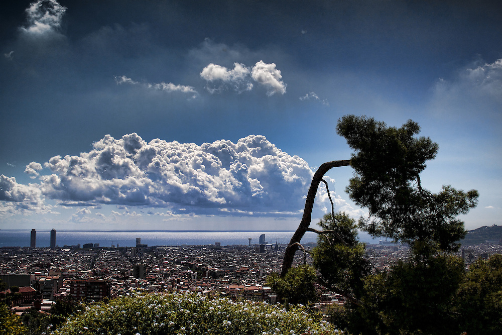 Looking towards the Mediterranean from Park Guell, Barcelona, Spain.