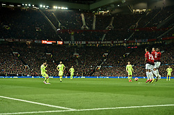 MANCHESTER, ENGLAND - Thursday, April 11, 2019: Barcelona's captain Lionel Messi takes a free-kick during the UEFA Champions League Quarter-Final 1st Leg match between Manchester United FC and FC Barcelona at Old Trafford. Barcelona won 1-0. (Pic by David Rawcliffe/Propaganda)