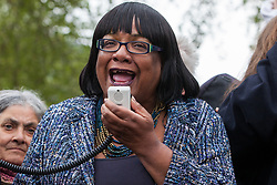 London, UK. 24th April 2019. Diane Abbott MP, Shadow Home Secretary, addresses climate change activists from Extinction Rebellion in Parliament Square on the tenth day of the International Rebellion to call on the British government to take urgent action to counter climate change.