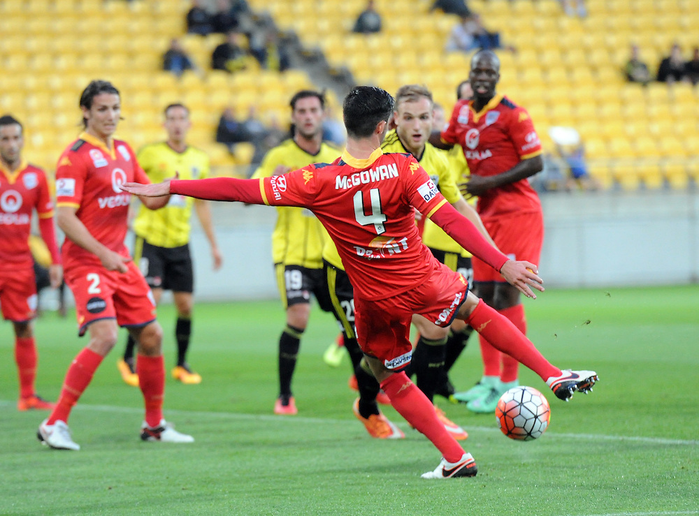 Adelaide United's Dylan McGowan flicks in his teams first goal against the Phoenix in the A-League football match at Westpac Stadium, Wellington, New Zealand, Saturday, March 05, 2016. Credit:SNPA / Ross Setford