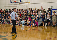 Keith Noyes recieves cheers from 6th grade students as he accepts the 2019 Teacher of the Year Wednesday morning at Belmont Middle School.  (Karen Bobotas/for the Laconia Daily Sun)