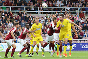 AFC Wimbledon defender Sean Kelly (22) heads towards goal during the EFL Sky Bet League 1 match between Northampton Town and AFC Wimbledon at Sixfields Stadium, Northampton, England on 20 August 2016. Photo by Stuart Butcher.