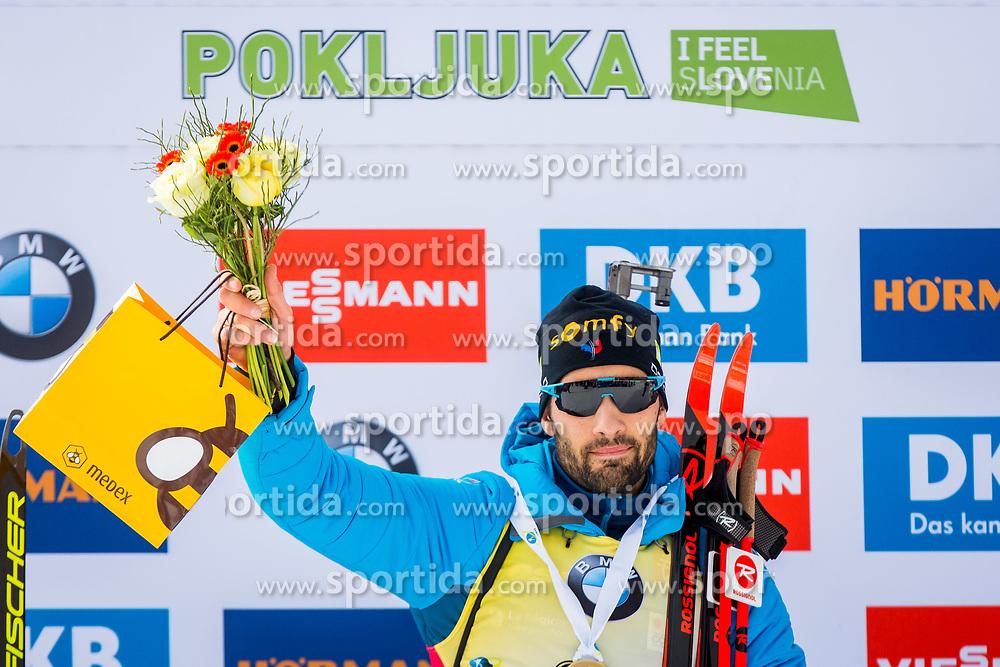 Martin Fourcade (FRA) during Flower ceremony after the Men 20km Individual at day 5 of IBU Biathlon World Cup 2018/19 Pokljuka, on December 6, 2018 in Rudno polje, Pokljuka, Pokljuka, Slovenia. Photo by Ziga Zupan / Sportida
