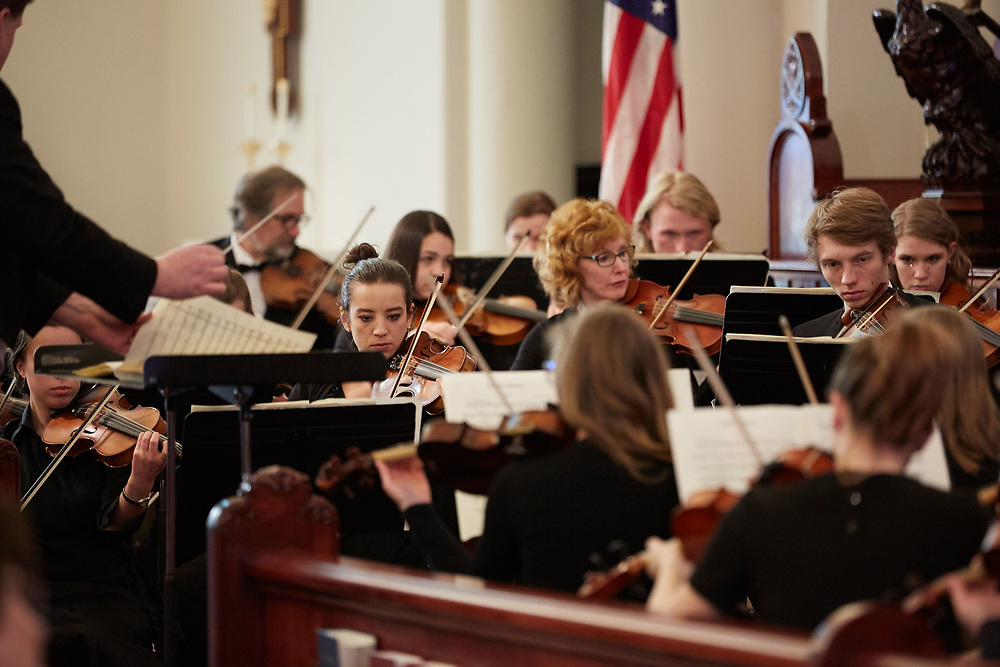 Activity; Music; Performance; Playing; College; School of Arts and Communication; Objects; Band; People; Student Students; Seasons Weather; March; Type of Photography; Candid; UWL UW-L UW-La Crosse University of Wisconsin-La Crosse; Symphony Orchestra