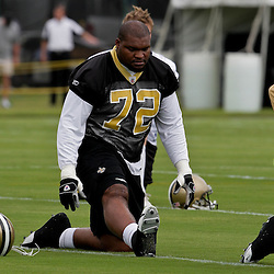 05 June 2009: Saints defensive tackle Rod Coleman (72) participates in drills during the New Orleans Saints Minicamp held at the team's practice facility in Metairie, Louisiana.