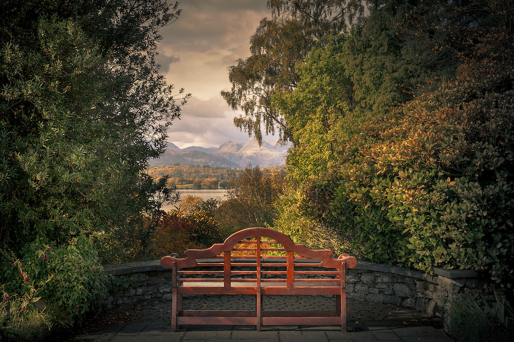The Langdale pikes from Brockhole house, Windermere