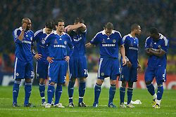 MOSCOW, RUSSIA - Wednesday, May 21, 2008: Chelsea's players look dejecred during the shoot-out to decide the UEFA Champions League Final against Manchester United at the Luzhniki Stadium. L-R: Nicolas Anelka, Michael Ballack, Juliano Belletti, captain John Terry, Frank Lampard, Ashley Cole and Michael Essien. (Photo by David Rawcliffe/Propaganda)