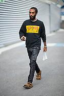 Sweatshirt and Coated Jeans, Outside Dries van Noten