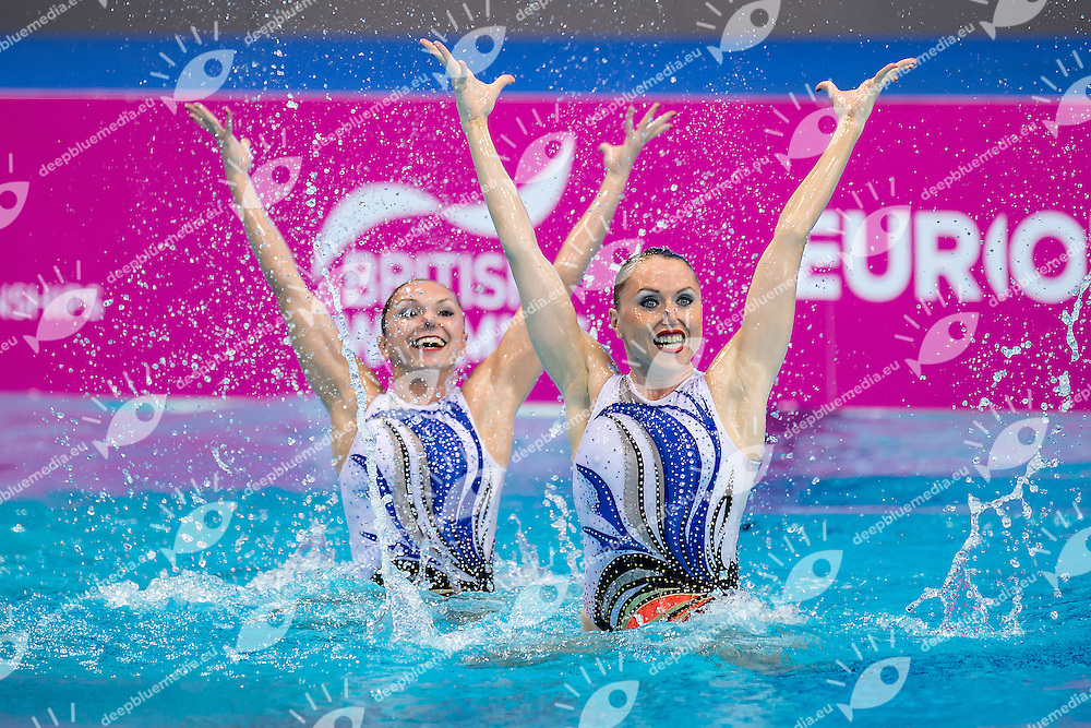 GLOUSHKOV LEVENTAL ISR TETELBAUM Ievgeniia  ISR<br /> London, Queen Elizabeth II Olympic Park Pool <br /> LEN 2016 European Aquatics Elite Championships <br /> Synchronised Swimming Synchro Duet Tech<br /> Day 06 13-05-2016<br /> Photo Giorgio Scala/Deepbluemedia/Insidefoto