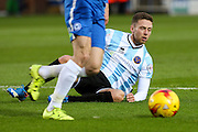 Shrewsbury Town FC midfielder Jordan Clark misses out on a penalty claim during the Sky Bet League 1 match between Peterborough United and Shrewsbury Town at the ABAX Stadium, Peterborough, England on 12 December 2015. Photo by Aaron Lupton.