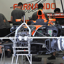 Fernando Alonso's,  McLaren Honda Formula 1 car being prepared.<br /> Day 1 of the 2017 Formula 1 Singapore airlines, Singapore Grand Prix, held at The Marina Bay street circuit, Singapore on the 14th September 2017.<br /> Wayne Neal | SportPix.org.uk