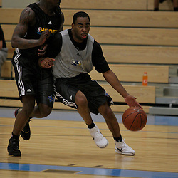 08 June 2009: Guard, Marcus Thornton of LSU drives past University of Central Florida guard, Jermaine Taylor during a pre NBA draft workout for the New Orleans Hornets at the Alario Center in Westwego, Louisiana.