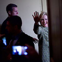 PHILADELPHIA, PA - April 6, 2016.  Hillary Clinton departs after speaking at the Pennsylvania AFL-CIO Convention at the Sheraton Philadelphia Downtown Hotel in Philadelphia, PA on April 6, 2016.  CREDIT: Mark Makela for The New York Times